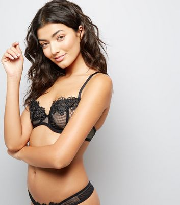 Black Lace Trim Fishnet Soft Cup Bra
