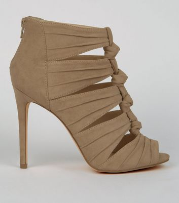 Brown Suedette Knotted Heels