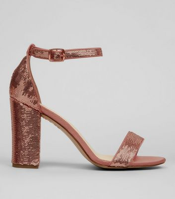 Rose Gold Sequin Block Heel Sandals