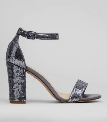 Pewter Sequin Heeled Sandals
