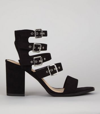 Black Suedette Buckle Strap Sandals