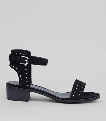 Black Suedette Stud Detail Sandals