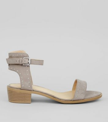 Grey Suedette Stud Detail Sandals