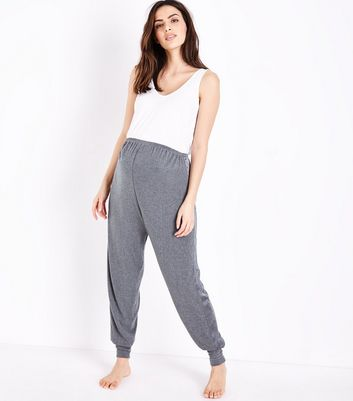 Maternity Dark Grey Satin Trim Pyjama Joggers