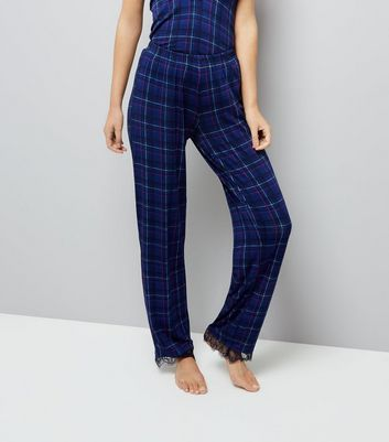 Blue Check Lace Trim Pyjama Bottoms