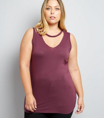 Curves Burgundy Choker Neck Tank Top