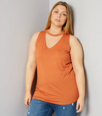Curves Orange Choker Neck Tank Top