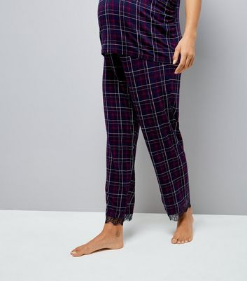 Maternity Purple Check Over Bump Pyjama Bottoms