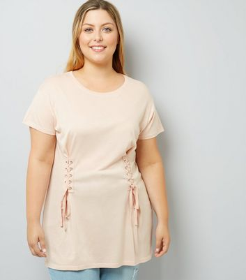 Curves Shell Pink Lace Up T-Shirt