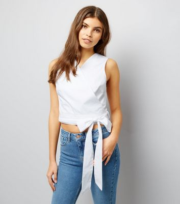 White Sleeveless Wrap Front Crop Top