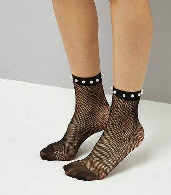 Black Pearl Embellished Fishnet Socks