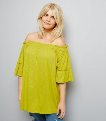 Curves Yellow Bell Sleeve Bardot Neck Top