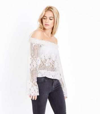 Blue Vanilla White Lace Bardot Neck Top
