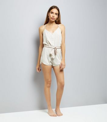 Cream Brushed Jersey Satin Tie Lounge Playsuit