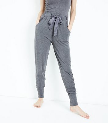 Dark Grey Satin Belt Pyjama Joggers