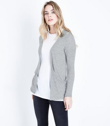 Grey Fine Knit Oversized Cardigan