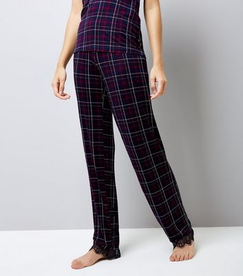 Tall Purple Check Lace Hem Pyjama Trousers