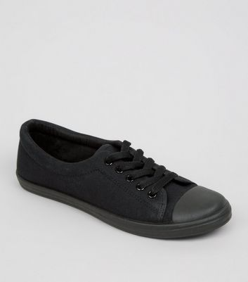 Teens Black Lace Up School Trainers