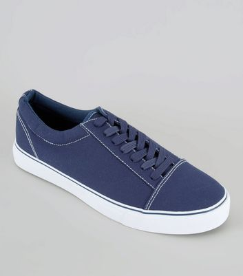 Blue Contrast Stitch Trainers