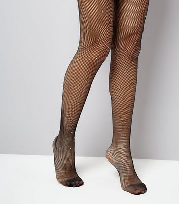 Black Diamante Embellsihed Fishnet Tights