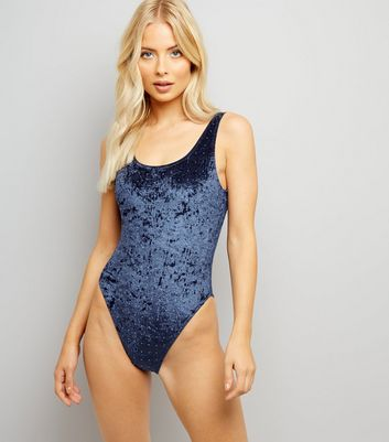 Navy Velvet Studded Swimsuit