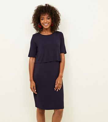 Maternity Navy Layered Nursing Dress