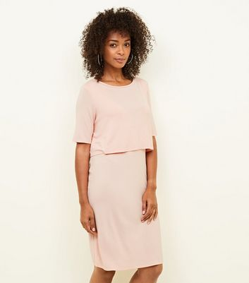 Maternity Pink Layered Nursing Dress