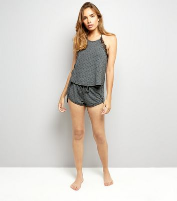Dark Grey Polka Dot Cami And Shorts Set