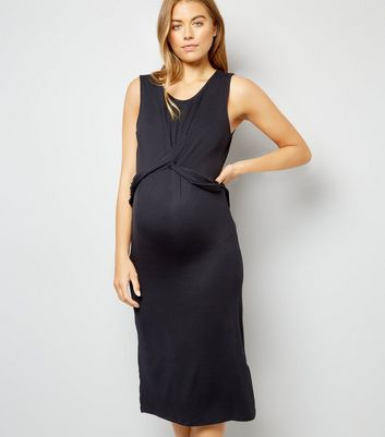 Maternity Black Twist Front Midi Dress