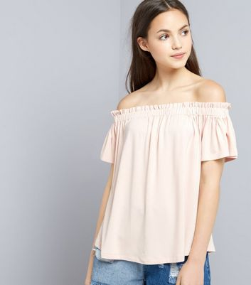 Teens Shell Pink Bardot Neck Top