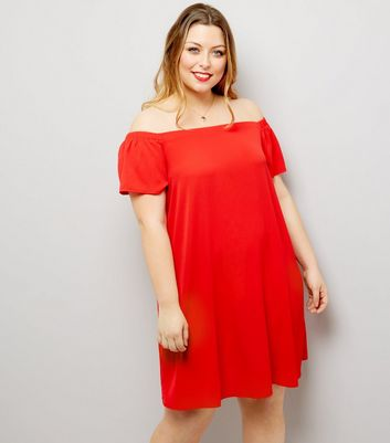 Curves Red Bardot Dress