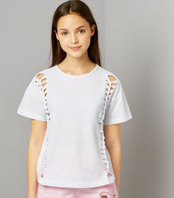 Teens White Knot Side Cut Out T-Shirt