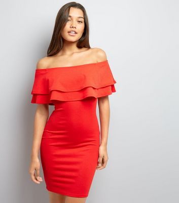 Tall Red Frill Trim Bardot Bodycon Dress