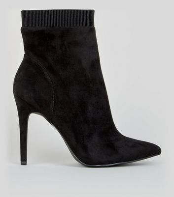 Wide Fit Black Suedette Pointed Ankle Boots