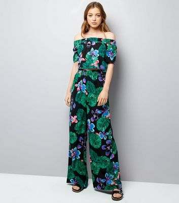 Tall Black Floral Tropical Print Trousers