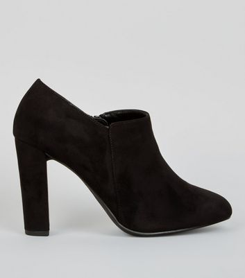 Wide Fit Black Suedette Block Heel Shoe Boots