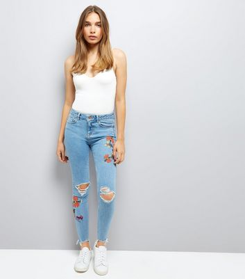 Blue Ripped Floral Embroidered Skinny Jenna Jeans
