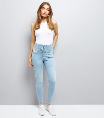 Blue Eyelet Lace Up High Waist Skinny Jeans