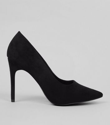 Wide Fit Black Suedette Pointed Court Shoes