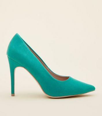 Wide Fit Dark Green Suedette Pointed Court Shoes