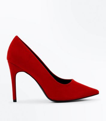 Wide Fit Red Suedette Pointed Court Shoes