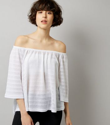 White Crochet Bardot Neck Top