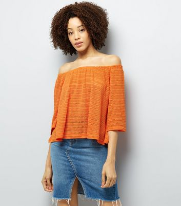 Bright Orange Bardot Neck 3/4 Sleeve Top