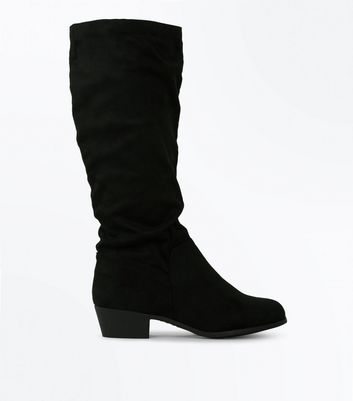 Wide Fit Black Suedette Slouchy Knee High Boots