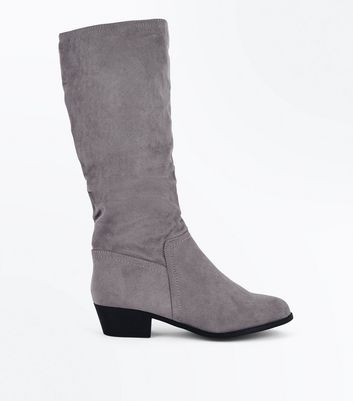 Wide Fit Grey Suedette Knee High Boots