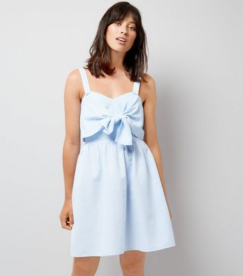 Blue Gingham Seersucker Twist Front Dress