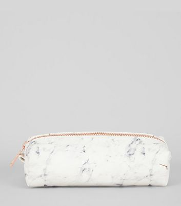 White Marble Effect Pencil Case