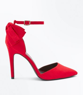 Wide Fit Red Suedette Bow Back Pointed Heels