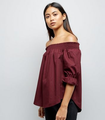 Petite Burgundy Shirred Bardot Neck Top