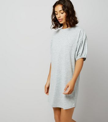 Petite Grey Marl Gathered Sleeve T-Shirt Dress